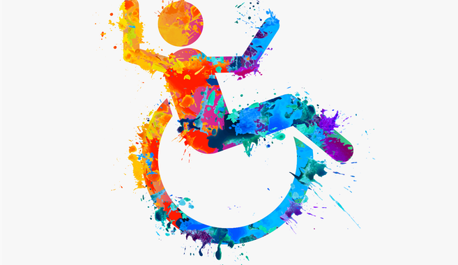 Colourful icon of a man in a wheelchair celebrating