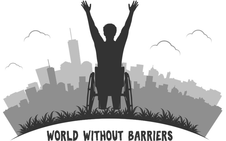 """Greyscale cartoon of a man in a wheelchair greeting a skyline with raised hands. Written below is """"World without barriers""""."""