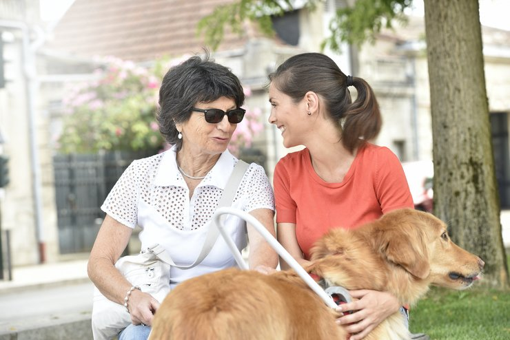A visually impaired sits with her guide dog, chatting with a friend.
