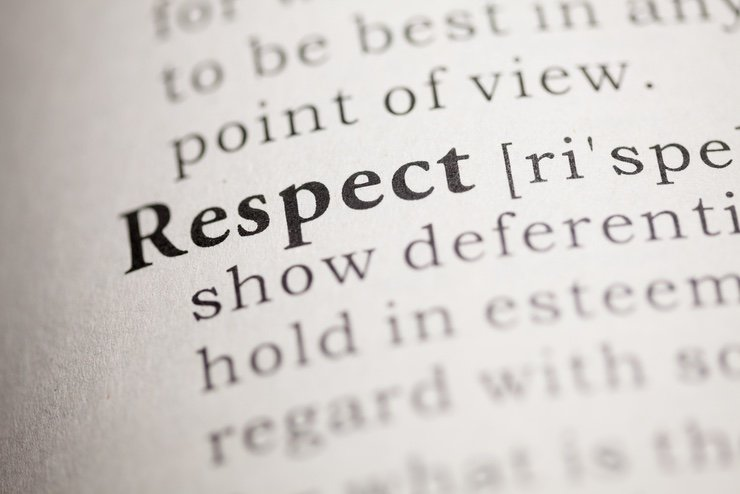 "Dictionary definition of the word ""Respect"""