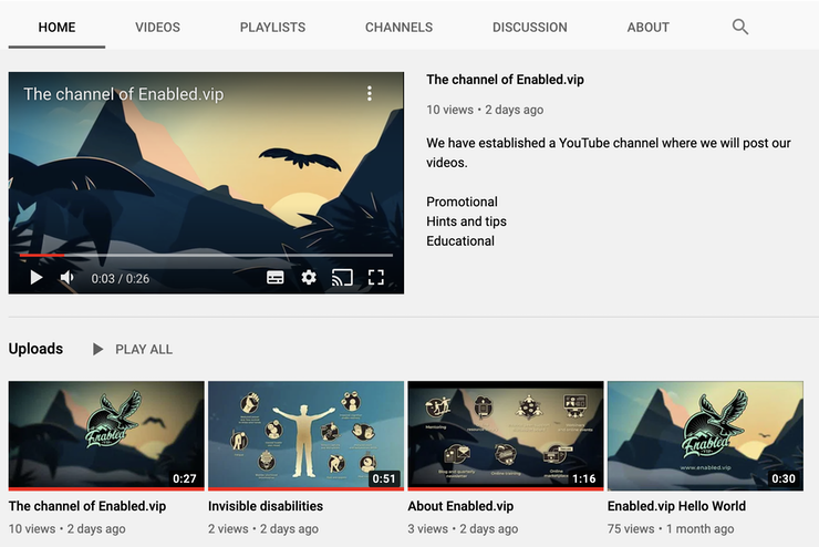Screen shot of the Enabled.vip YouTube channel