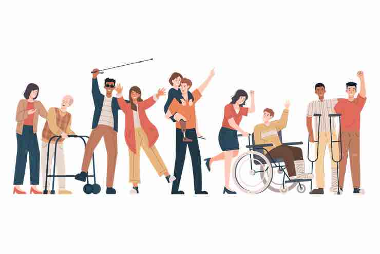 Cartoon image of a diverse group of people living with disabilities