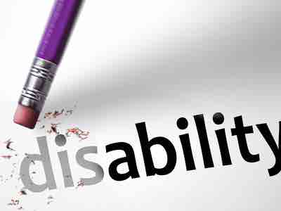 """A pencil erasure rubbing out the letters """"dis"""" from the word """"disability"""""""