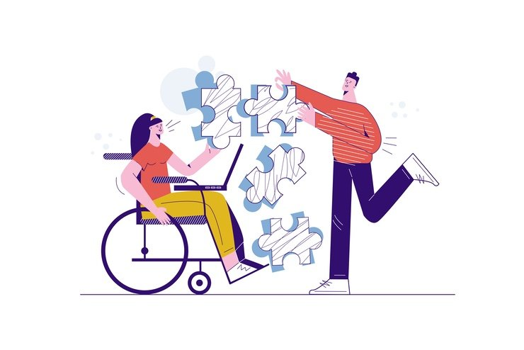 An artistic cartoon image of mentor sharing tips and information (represented as jigsaw) pieces with a woman in a wheelchair