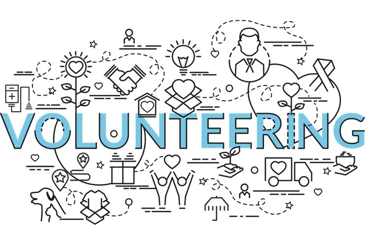 """A graphic about """"VOLUNTEERING"""""""