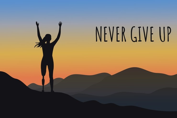 """A woman with an artificial leg, celebrates the day with the words """"NEVER GIVE UP"""" beside her."""