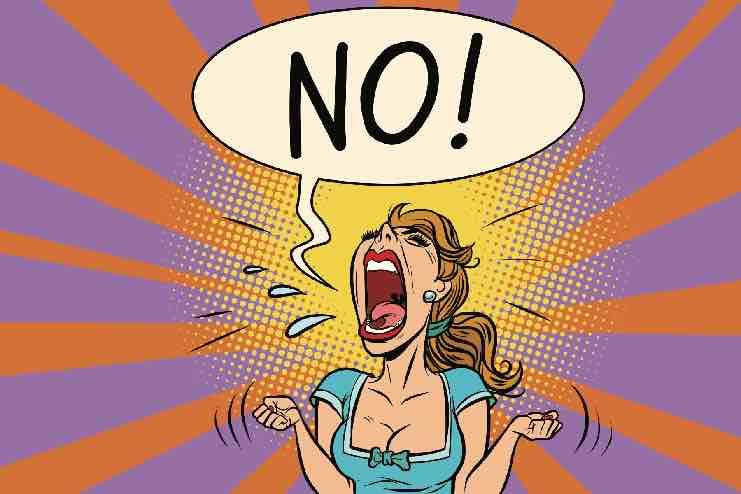"Cartoon of a woman screaming ""NO!"""