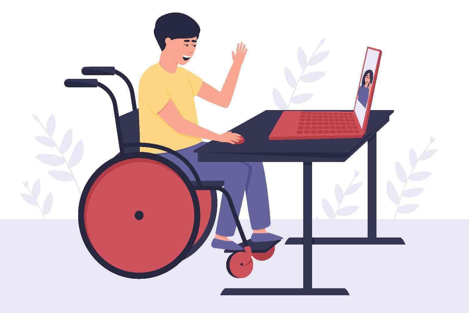 A man in a wheelchair on a video call