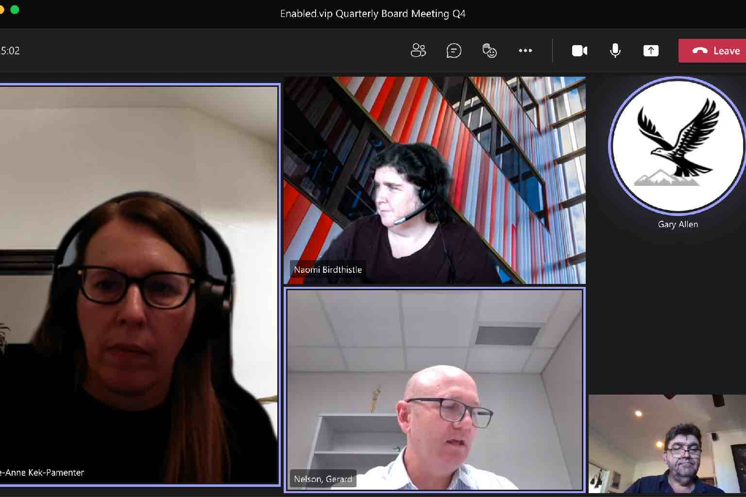 Screenshot of the Enabled.vip Board meeting on 210604