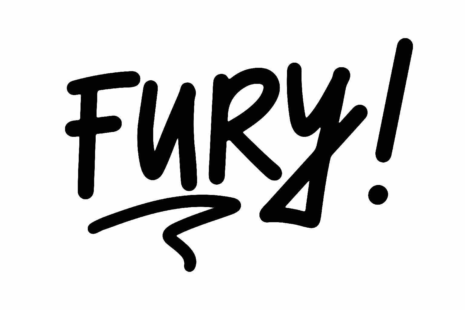 """The word """"FURY!"""" written in felt pen, bold and loud."""