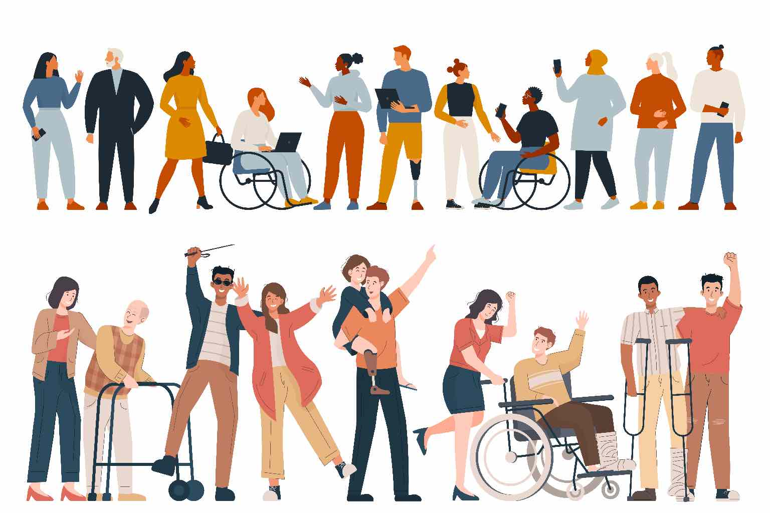 Two rows of diverse people who live with a disability