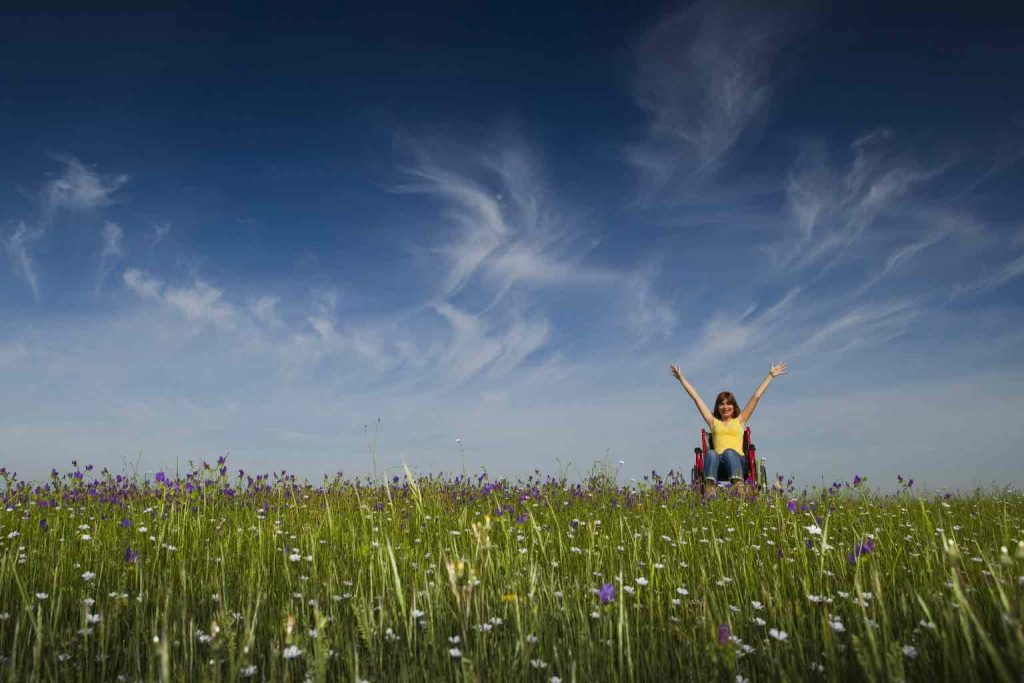 Happy woman in a wheelchair under a gorgeous sky in a green meadow