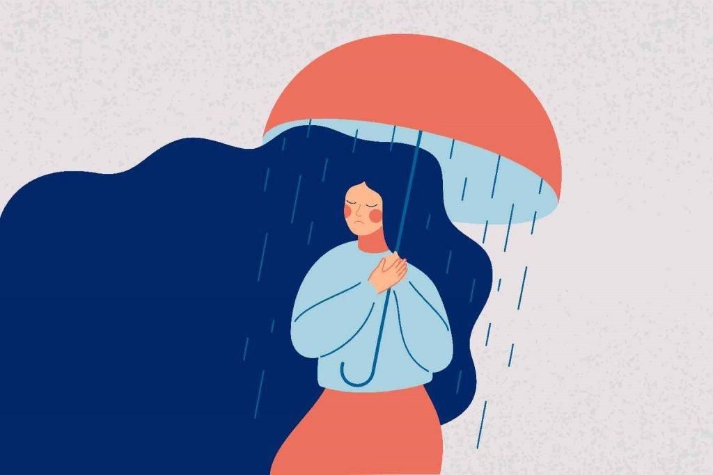 Cartoon of a weeping woman holding an open umbrella with rain falling inside the umbrella