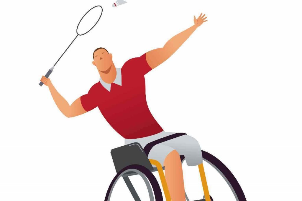 Cartoon of a man with an amputated leg playing badminton