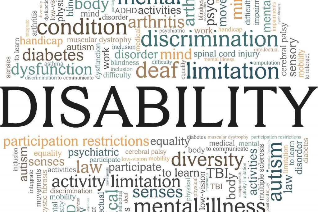 A circular wordcloud around the concept of 'DISABILITY'