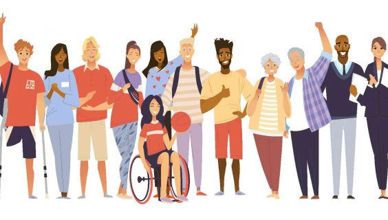 A group of diverse people with a disability celebrating