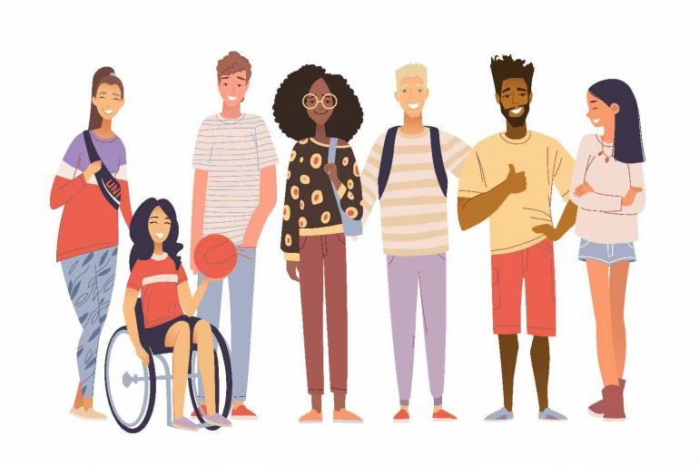 Cartoon group of multicultural students flat vector illustration.