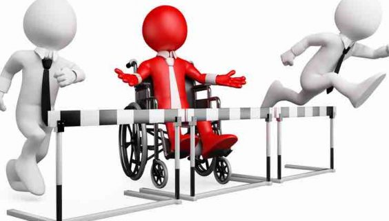 A 3d figure in a wheelchair blocked by a hurdle, as two other figures beside them take on the hurdles