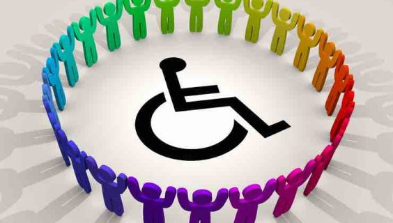 A circle of coloured 3d figures with linked hands around a disability icon
