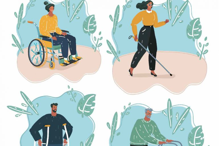 Four cartoon images of people's striving despite their disability