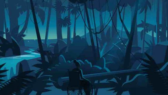 Animation frame of a young woman in a wheelchair in a wild rainforest