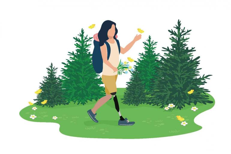 A cartoon of a woman hiking in a forest
