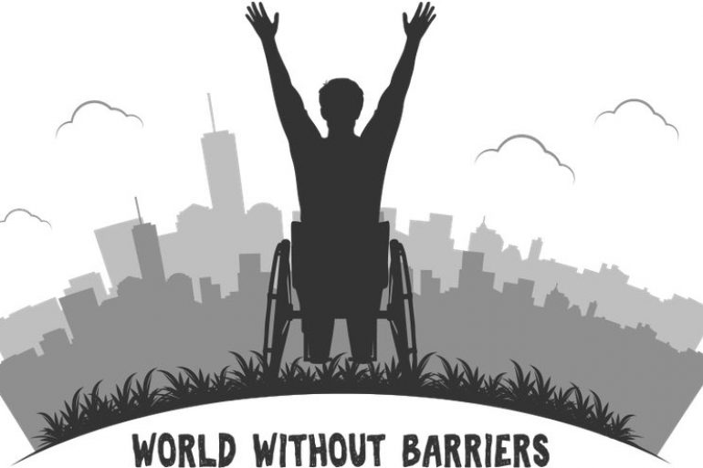 Greyscale cartoon of a man in a wheelchair greeting a skyline with raised hands. Written below is