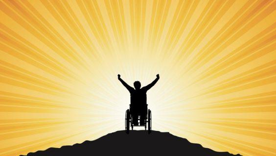 A cartoon silhouette of a man in a wheelchair with his arms raise