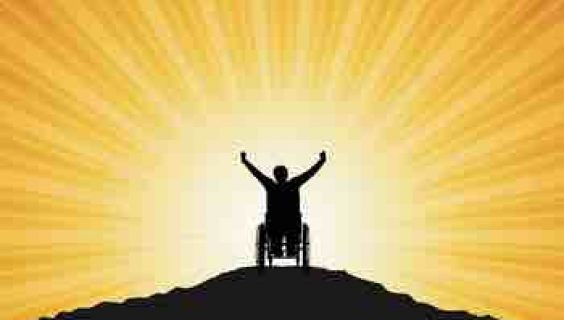 Graphic of a silhouette of a man in a wheelchair greeting the dawn with raised arms
