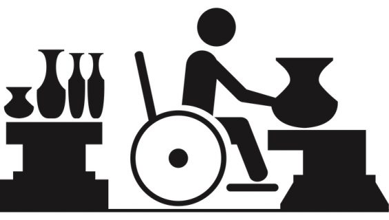 Graphic of a person in a wheelchair potting