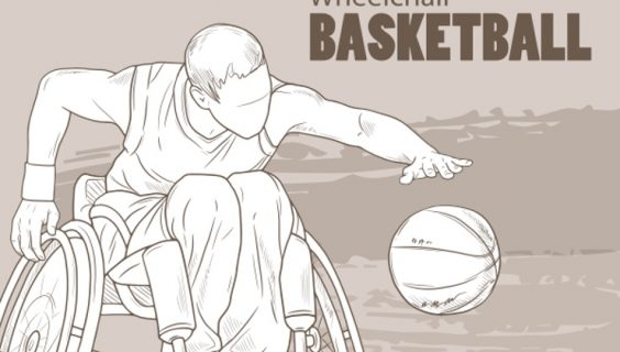 An uncoloured/unshaded image of a basketballer bouncing a ball